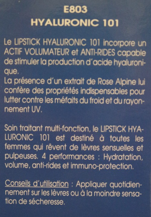 HYALURONIC 101 / LIPSTICK REPULPANT - E803